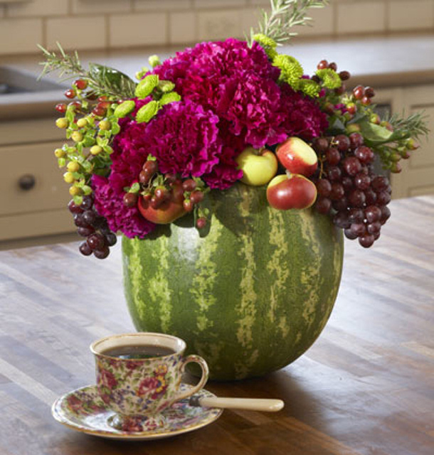 Watermelon Vase Floral Centerpiece via my home ideas