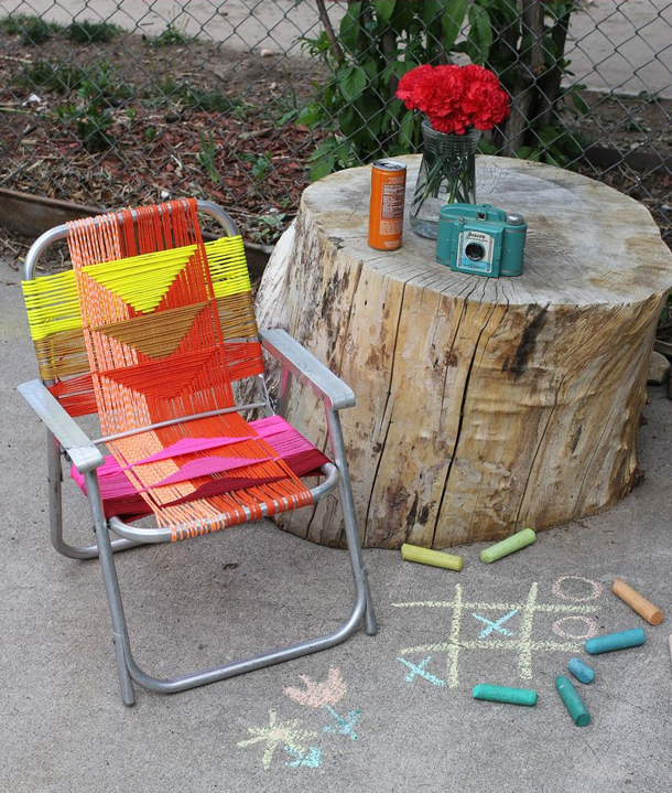 aluminum chair paracord makeover via a beautiful mess