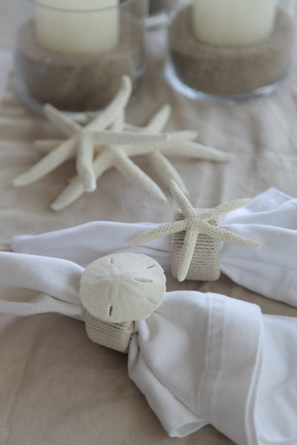 beachy seashell and rope napkin rings via Homedit
