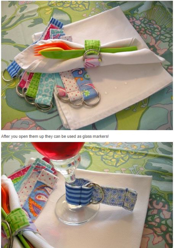 fabric pull through napkin rings and drink markers pattern and diy via me and my sister designs