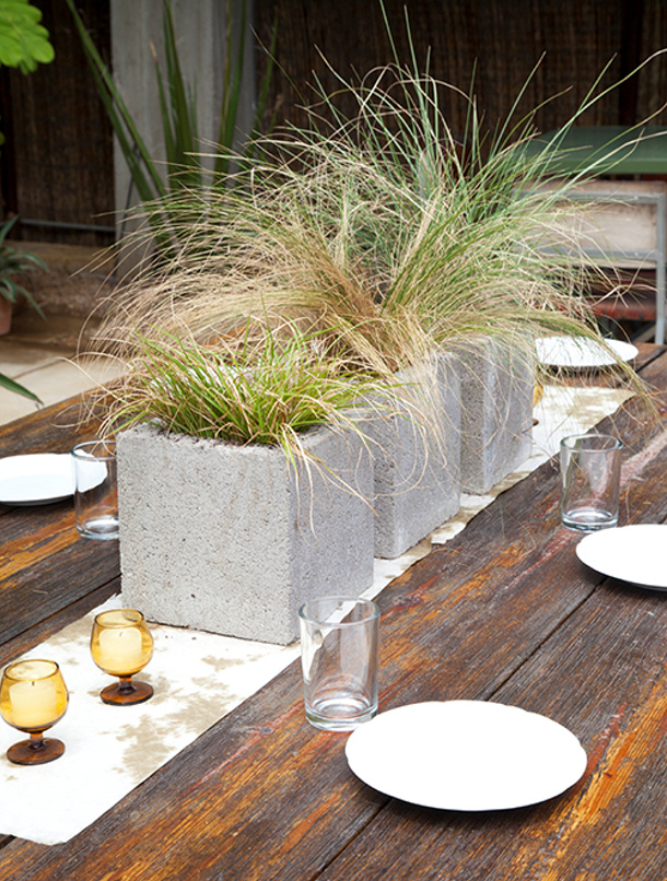grassy cinder block centerpieces tutorail via design sponge