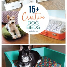 15+ Creative DIY Dog Beds | landeelu.com So many cute ideas to make a fun bed for your fur baby! #dogbed #diydogbed #creativedogbed #pets #dogs