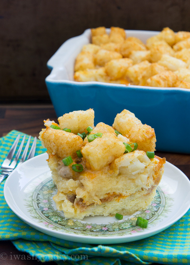 Sausage Egg and Cheese Tater Tot Breakfast Casserole via i wash you dry