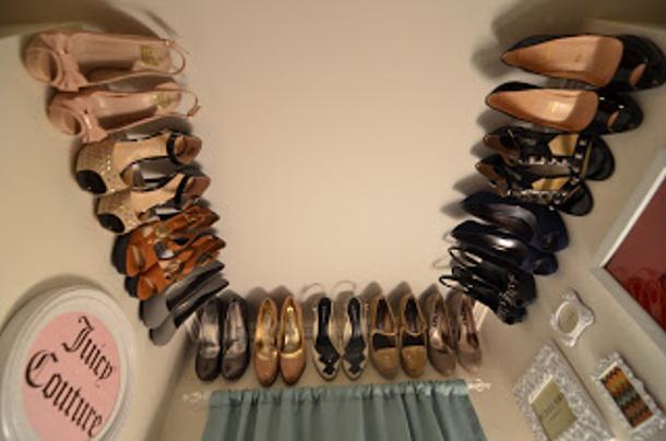 floating shoe shelves via not martha - Shoe Organizer Ideas