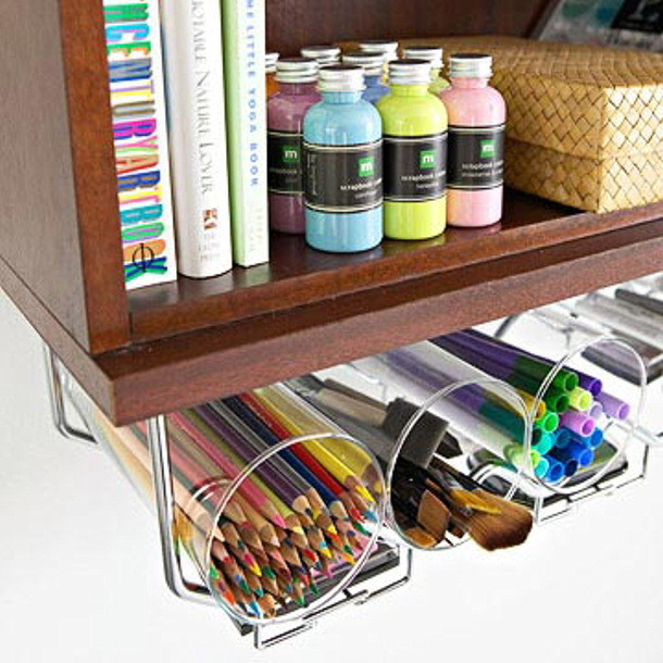 store supplies in an under the counter stem holder via BHG