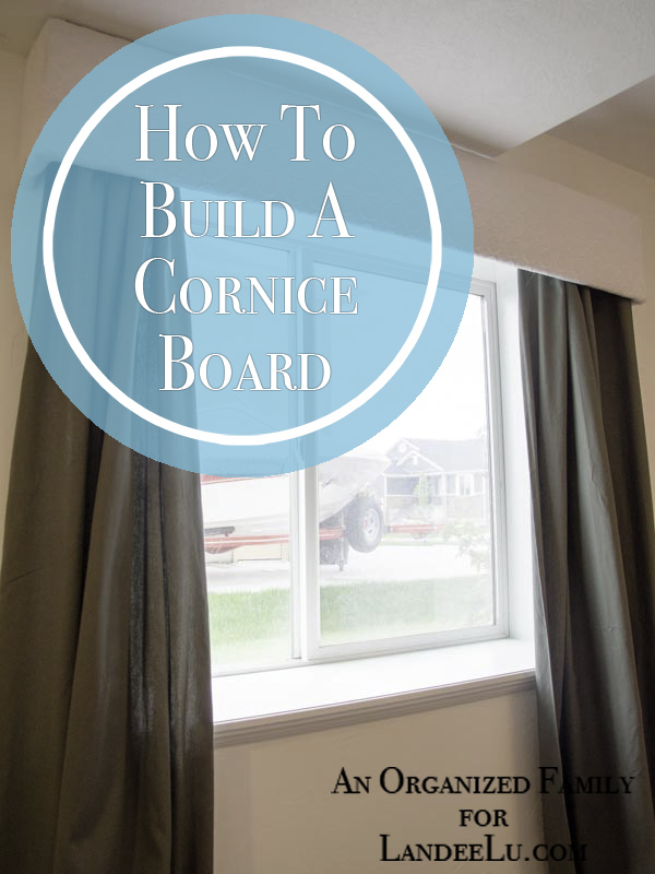 Tutorial of how to build a cornice board as part of your window treatment.