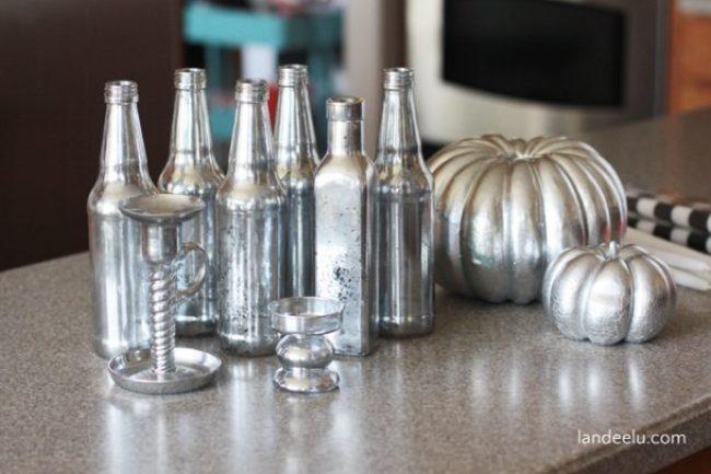 Upcycled Mercury Glass Bottles