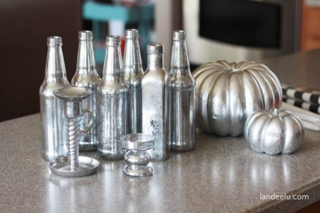 Upcycled Mercury Glass Bottles