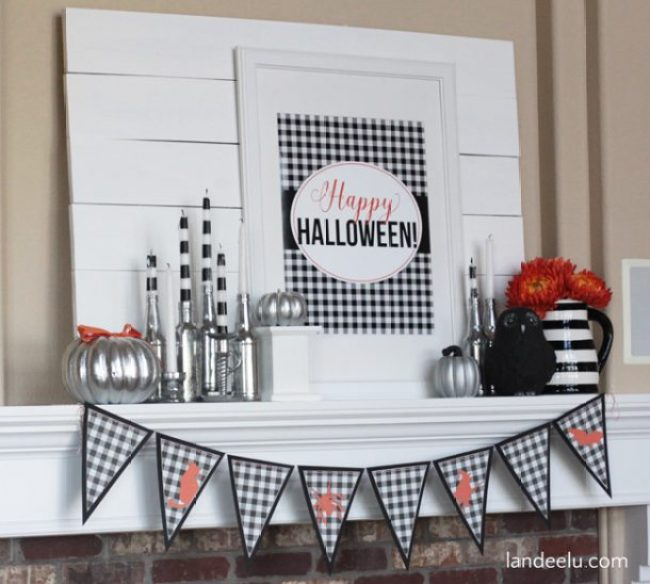 Buffalo Check Halloween Mantel