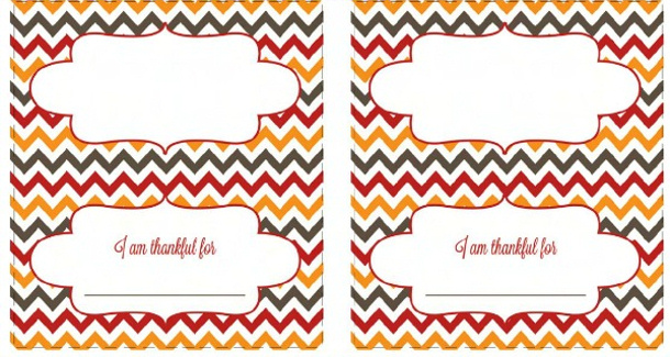 Chevron Thanksgiving Place cards - Free Printables via Today's Creative Life