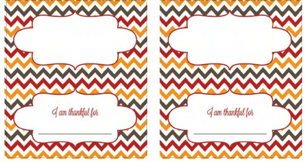 Chevron Thanksgiving Place cards - Free Printables via Today's Creative Life