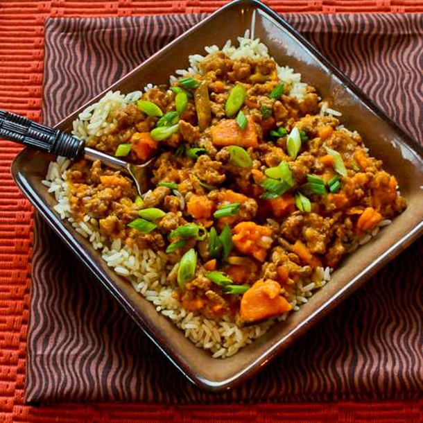 CrockPot Sweet and Spicy Ground Turkey and Sweet Potato Stew Recipe with Coconut Milk via Kalyn's KITCHEN