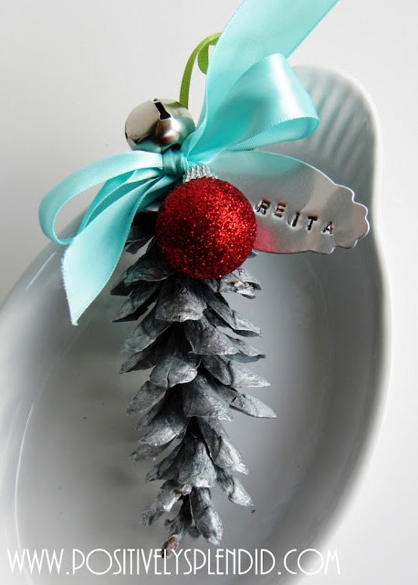 Hammered Metal Tag and Pine Cone Ornament Place Card Tutorial via Sumo's Sweet Stuff