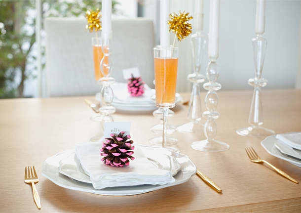 Neon Pine Cone Placecards Tutorial via Camille STYLES