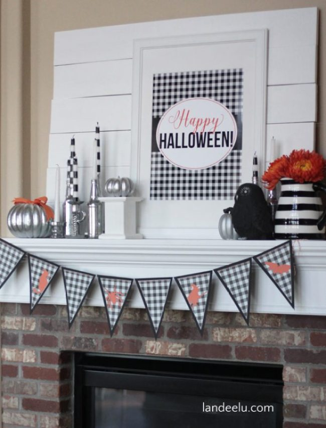 Plaid Halloween Mantel