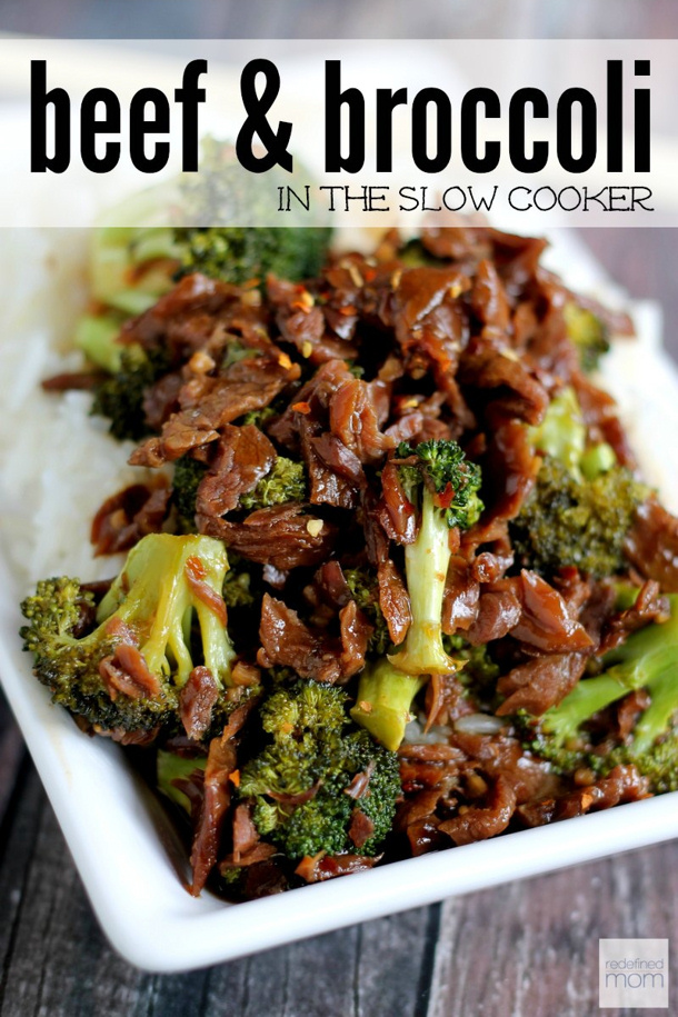 Slow Cooker Spicy Beef and Broccoli Recipe via redefined mom