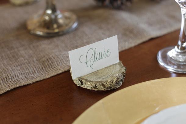 Wood Slice Place Card Holders DIY via Julie Blanner