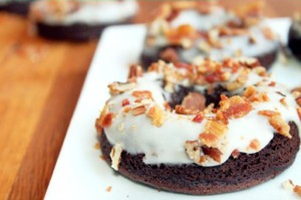 German Chocolate Doughnuts with Maple Bacon Glaze Creole Contessa