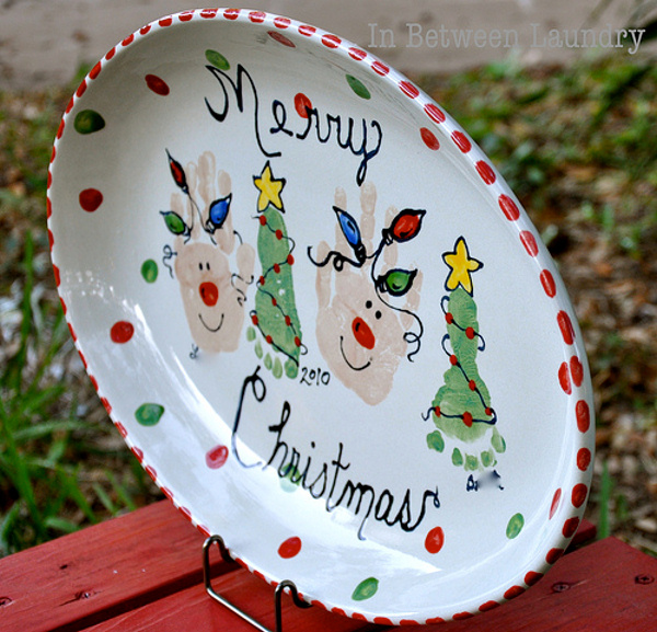 Painted Pottery with Hands and Feet Christmas Plate IN Between Laundry