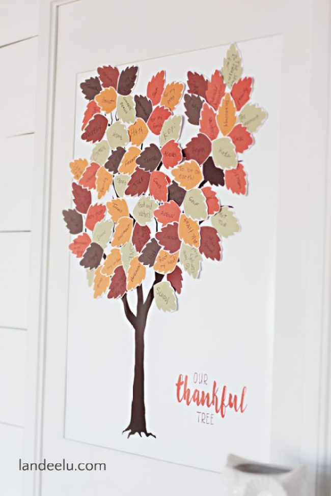 Thankful Tree Free Printable | Print the tree and the leaves and have everyone write what they are thankful for! Such a cute way to display your gratitude!