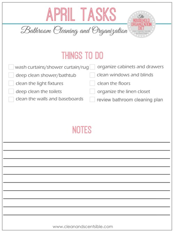 Bathroom Cleaning and Organizing Checklist via Clean and Scentsible