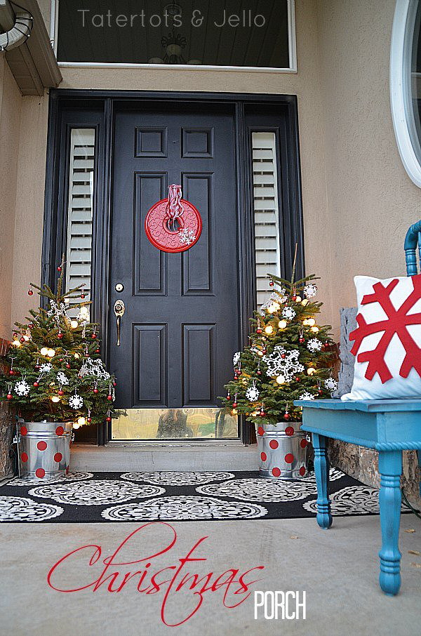 Christmas-porch-with-trees-in-polka dot pails tatertots and jello