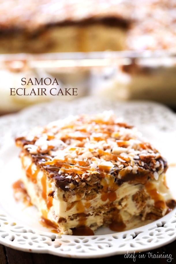 No-Bake-Samoa-Eclair-Cake chef in training