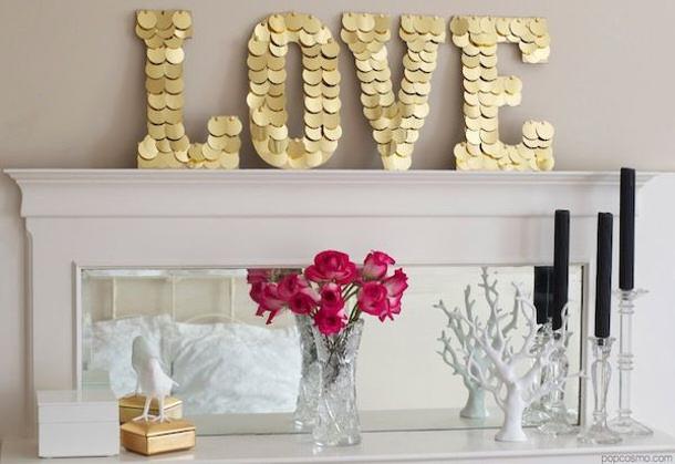DIY Gold LOVE sign big popcosmo