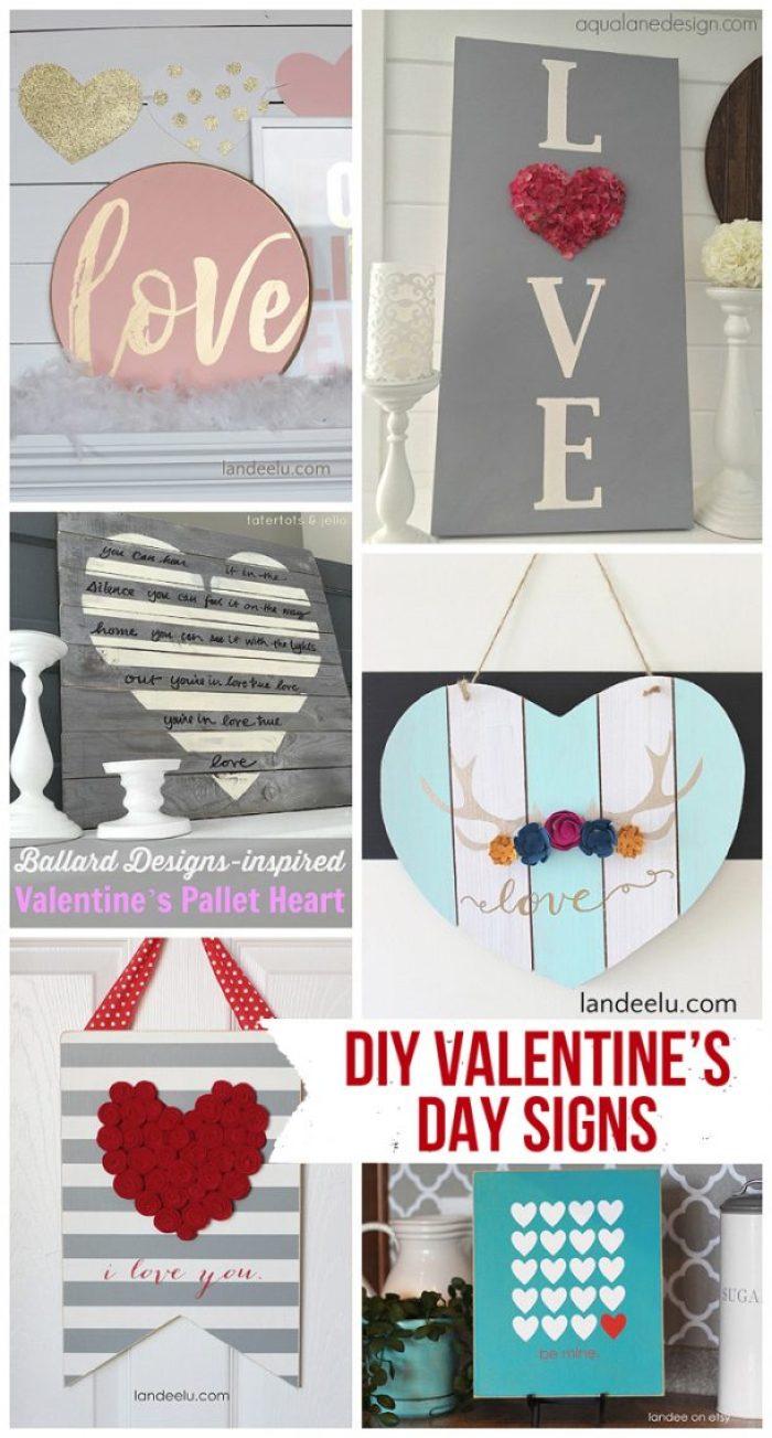 DIY Valentine's Day Signs | landeelu.com So many fun DIY signs to make for Valentine's Day!