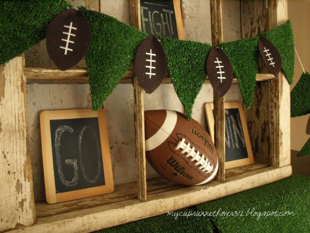 Football Party Pennant Turf and Footballs Garland my cup runneth over