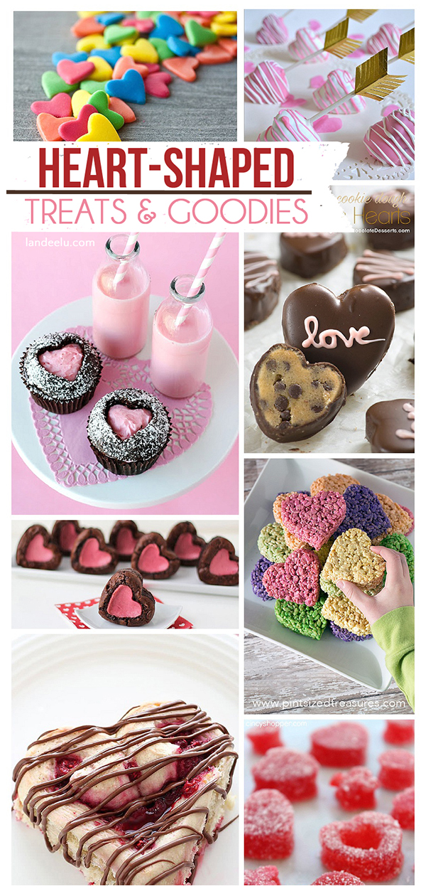 Heart-Shaped Cookies, Pies, Candy, Cinnamon Rolls, Donuts and more!! #heartshaped #heartshapedtreats #valentinesday #valentinesdaytreats #hearts