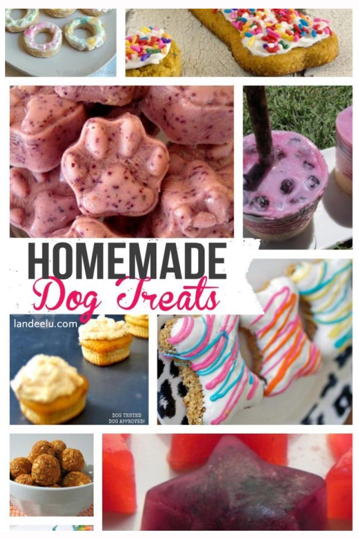 Homemade Dog Treat Recipes | landeelu.com Whip up a healthy homemade treat for your fur baby! #homemadedogtreats #dogtreats #dogs #dogfood