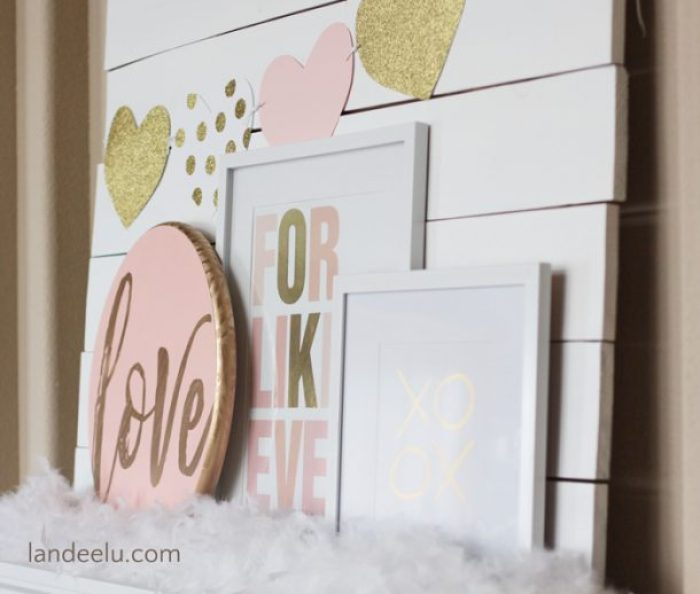 Pink and Gold Valentine's Day Mantel | landeelu.com Pretty blush pink, gold and white Valentine's Day mantel decorations!