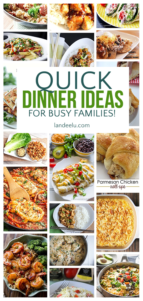 A TON of awesome quick dinner ideas for busy families. I can't wait to try these on my family! #familydinner #dinnerideas #dinnerrecipes #quickdinner