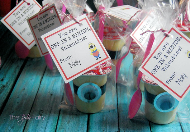 DIY Valentines - minion-valentine snack pack puddings tip toe fairy