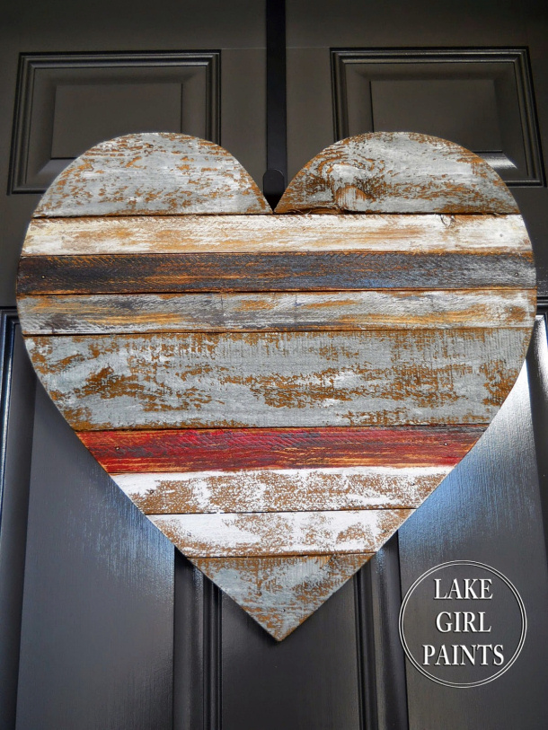 mixed board hanging heart Lake Girl Paints
