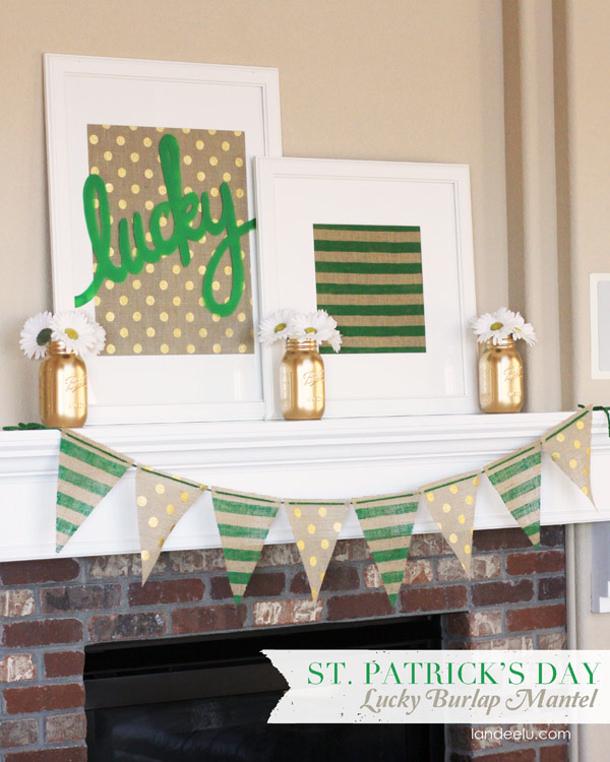 St-Patricks-Day-Lucky-Burlap-Mantel