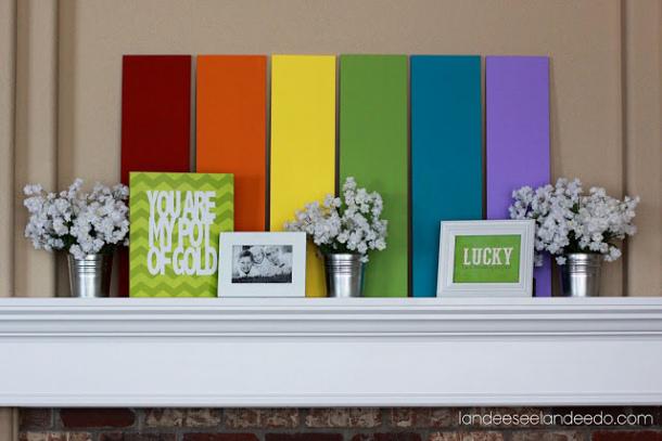 st.+patrick's+day+mantel Rainbows and Chevrons Landeelu