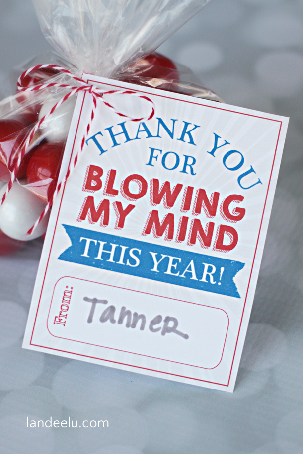 """Thank You for Blowing My Mind This Year!"" Easy Teacher Appreciation Gift Idea and Free Printable Tags : Landeelu DIY Paper Craft"