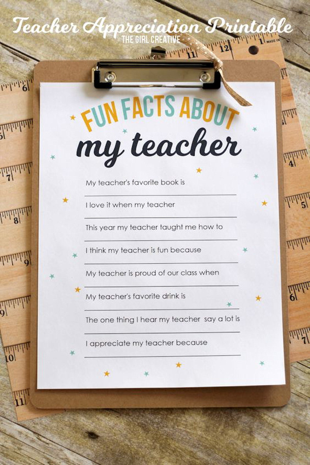 "DIY Paper Crafts - Teacher Appreciation Gift Ideas Fun ""Facts about my TEACHER"" Survey Printable via The Girl Creative"