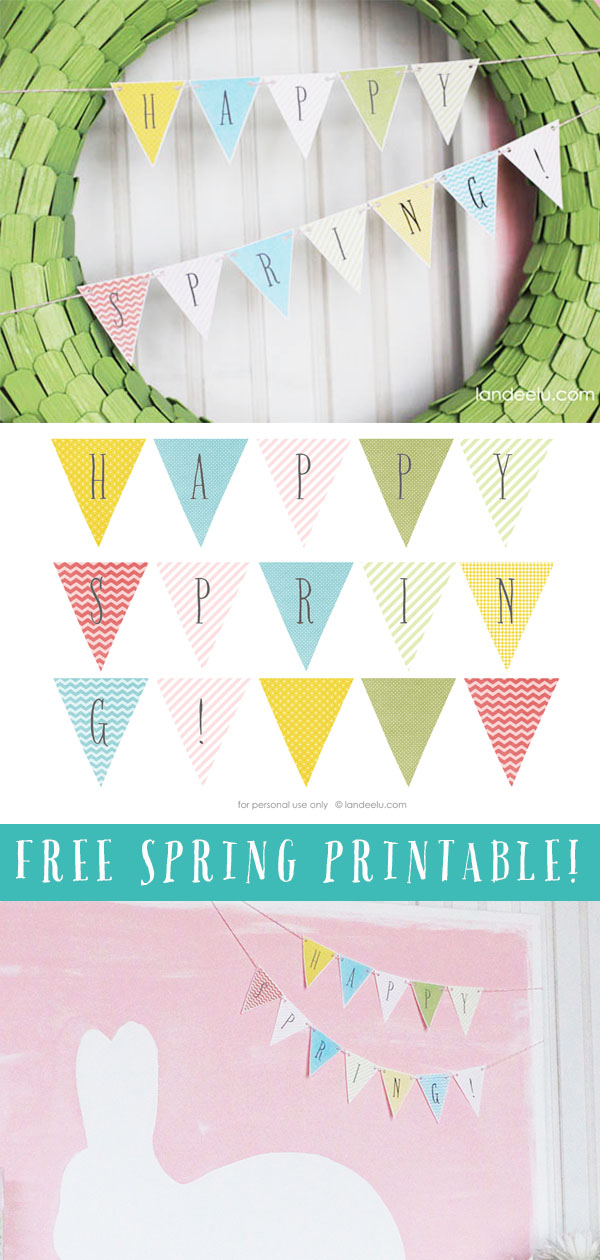 Free Spring Decorations: Simply download and cut out this cute Happy Spring banner! #springdecor #easterdecor #freeprintables #happyspring