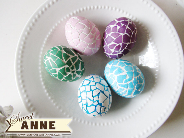 Mosaic Eggs via Sweet Anne