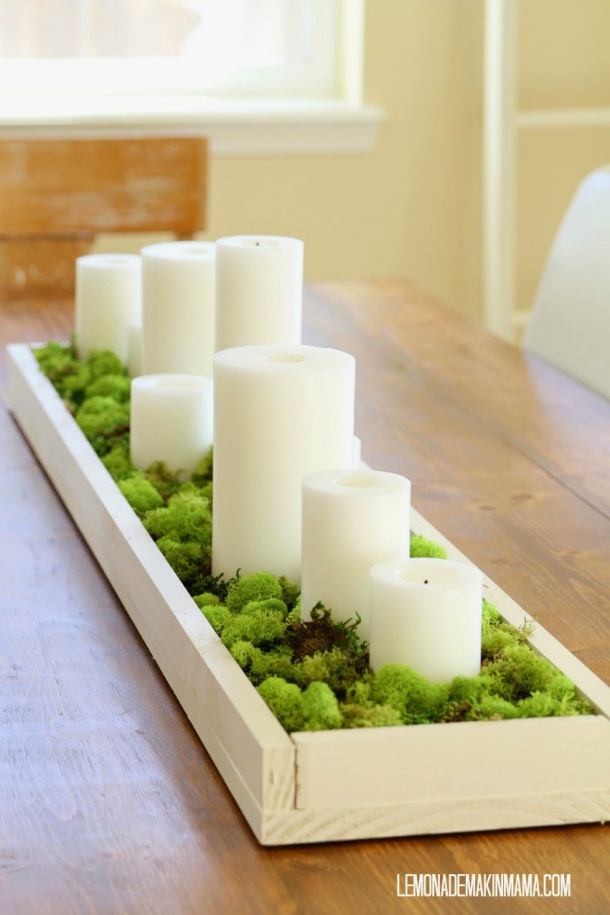Mossy Wooden Tray with Candles Lemonade Makin Mama