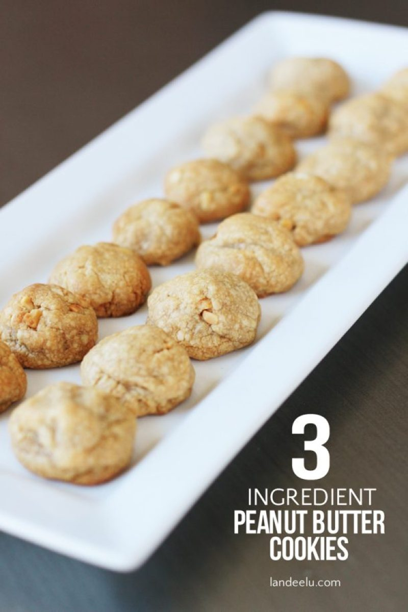 Naturally gluten-free and only 3 ingredients! Yummy little peanut butter cookies!