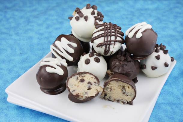 Chocolate Chip Cookies Dough Truffles Recipe via Landeelu
