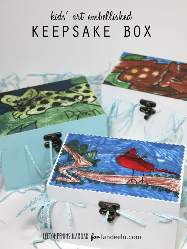 DIY gift ideas for Mothers Day - DIY Keepsake Boxes using Kids Art Tutorial via Landeelu
