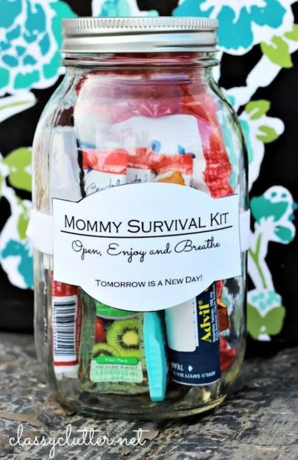 DIY gift ideas for Mothers Day - DIY Mommy Survival Kit Mason Jar Idea Tutorial