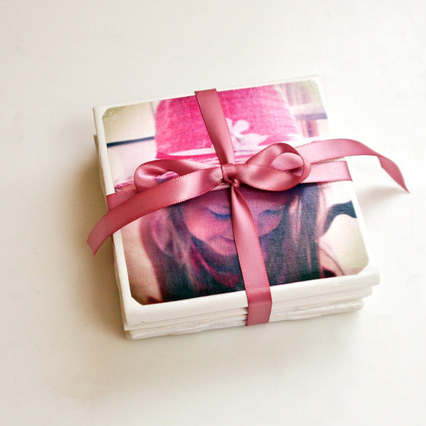 DIY gift ideas for Mothers Day - DIY Tile Photo Coasters Tutorial via popsugar