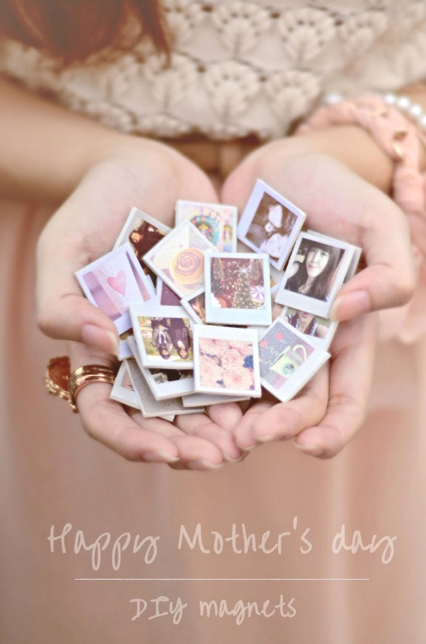 DIY gift ideas for Mothers Day - DIY mini Polaroid Photo Fridge Magnets Tutorial