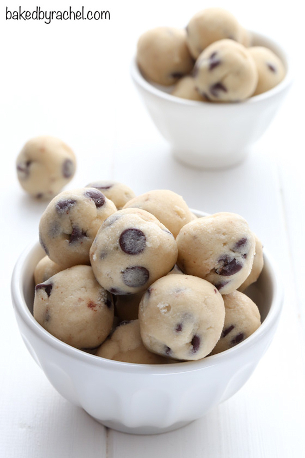 Egg Free Frozen Chocolate Chip Cookies Dough Balls Treat Recipe via Baked by Rachel